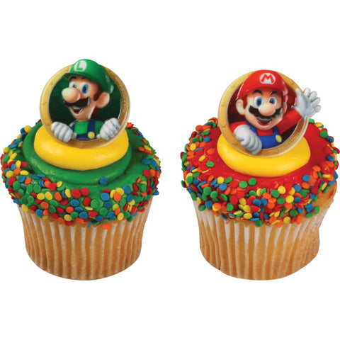 A Birthday Place - Cake Toppers - Super Mario Mario & Luigi© Cupcake Rings