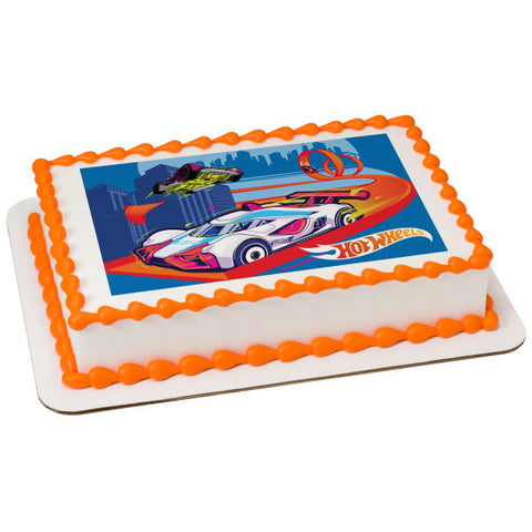 Hot Wheels™ Race to Win! Edible Cake Topper Image