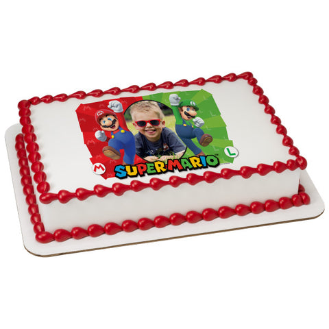 A Birthday Place - Cake Toppers - Super Mario Here We Go! Edible Cake Topper Frame