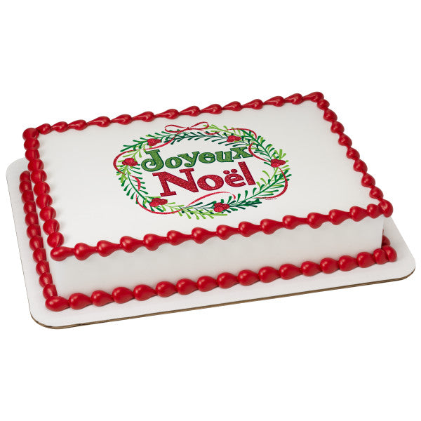 A Birthday Place - Cake Toppers - Playful Joyeux Noel Edible Cake Topper Image