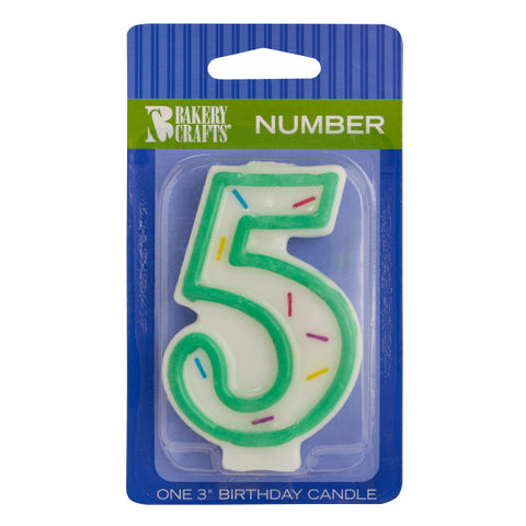 "A Birthday Place - Cake Toppers - Numeral ""5"" Sprinkle Candles"