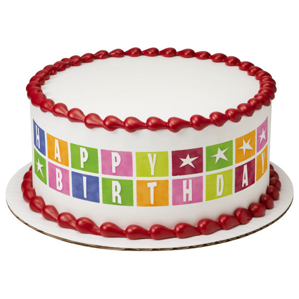 A Birthday Place - Cake Toppers - Birthday Star Blocks Edible Cake Topper Image Strips