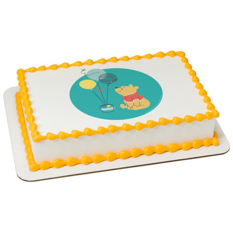 Baby Pooh-1st Birthday Edible Cake Topper Image