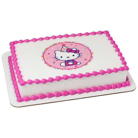 Hello Kitty® Party Hat Edible Cake Topper Image