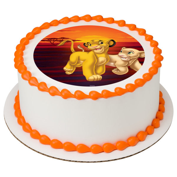 The Lion King Simba and Nala Edible Cake Topper Image