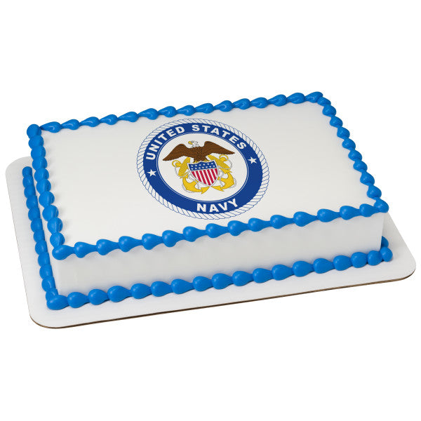 A Birthday Place - Cake Toppers - United States Navy Edible Cake Topper Image