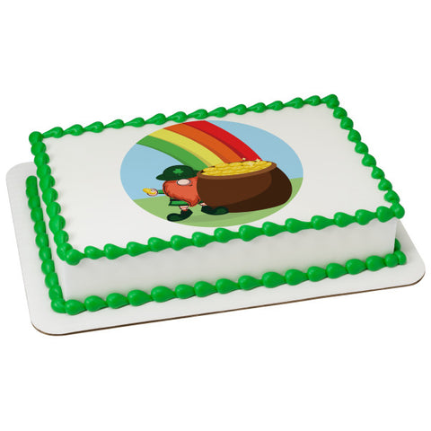 Rainbow Pot Of Gold Edible Cake Topper Image