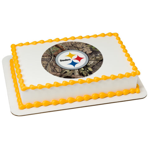 A Birthday Place - Cake Toppers - NFL Pittsburg Steelers Mossy Oak Edible Frosting Image