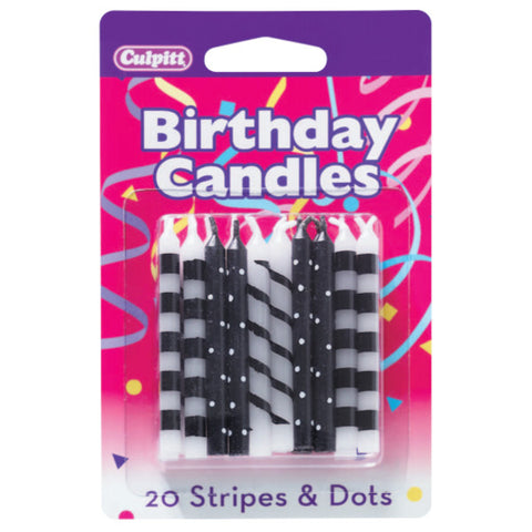 A Birthday Place - Cake Toppers - 20 Black Stripes and Dots Pattern Candles