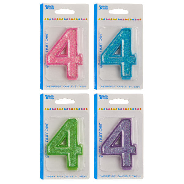 A Birthday Place - Cake Toppers - Bakery Crafts '4' Numeral Glitter Candles