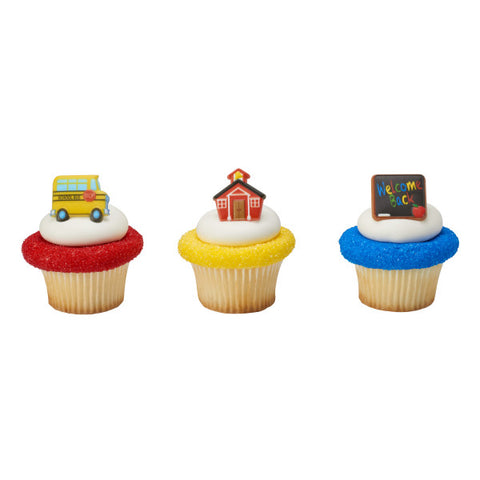 A Birthday Place - Cake Toppers - School Icons Cupcake Rings