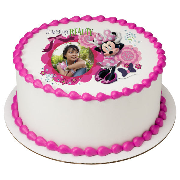 Minnie Mouse Budding Beauty Edible Cake Topper Frame A Birthday Place
