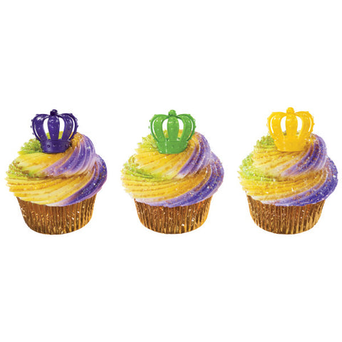 A Birthday Place - Cake Toppers - Mardi Gras 3D Crown Cupcake Rings