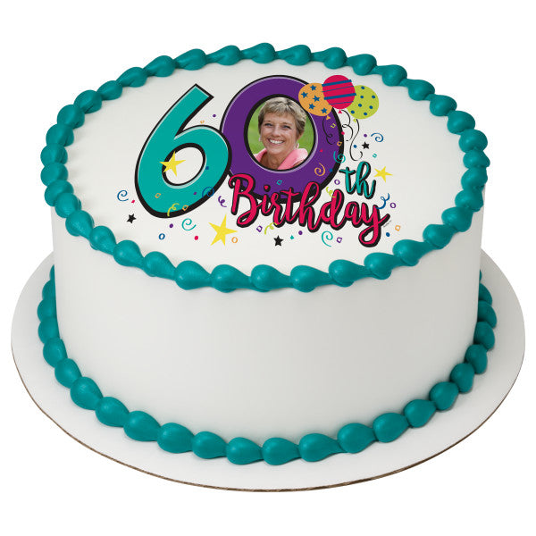 Happy 60th Birthday Edible Cake Topper Image Frame