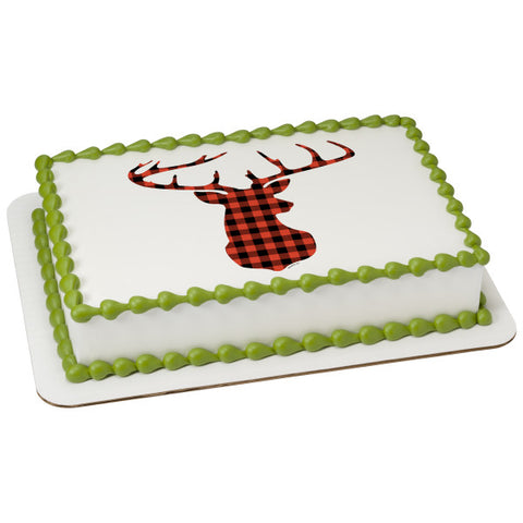 Red Check Plaid Deer Edible Cake Topper Image