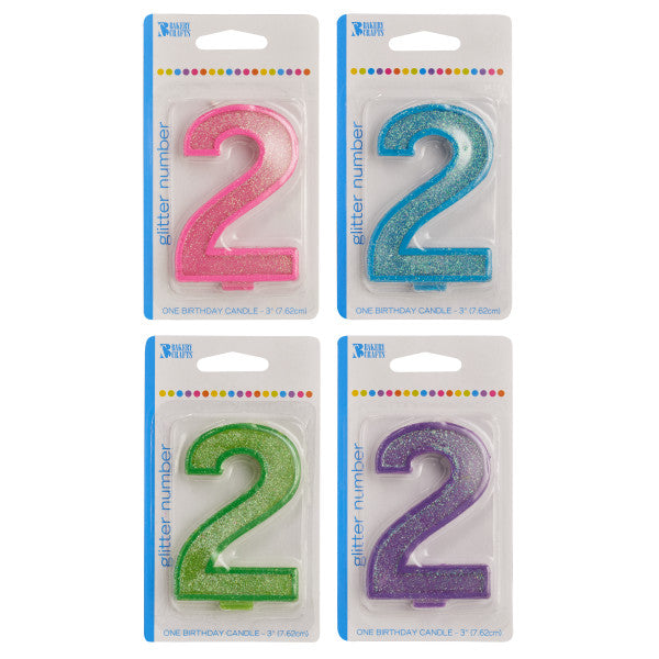 A Birthday Place - Cake Toppers - Bakery Crafts '2' Numeral Glitter Candles
