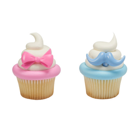 A Birthday Place - Cake Toppers - Bow and Mustache Cupcake Rings