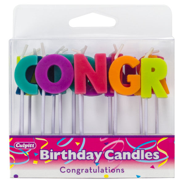 A Birthday Place - Cake Toppers - Congratulations Bright Letter Candles