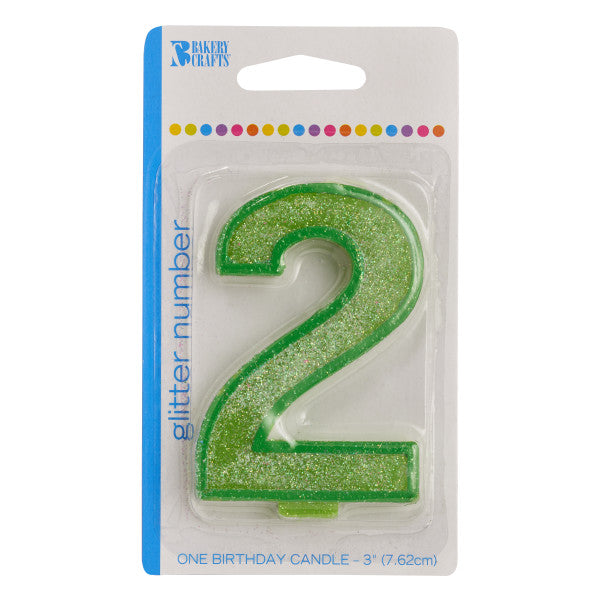 Bakery Crafts '2' Numeral Glitter Candles