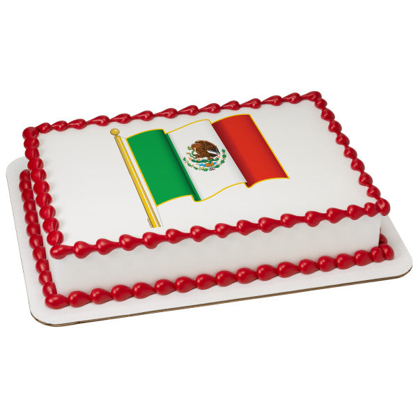 A Birthday Place - Cake Toppers - Mexican Flag Edible Cake Topper Image