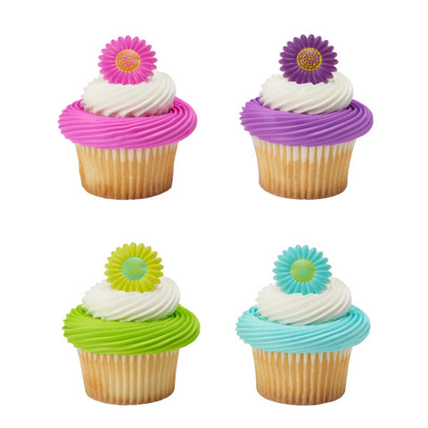 A Birthday Place - Cake Toppers - Bright Blossom Cupcake Rings