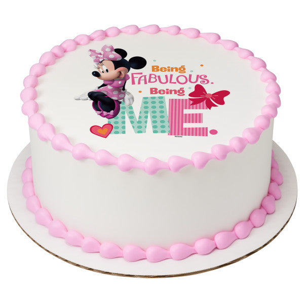 Minnie Being Me Edible Cake Topper Image