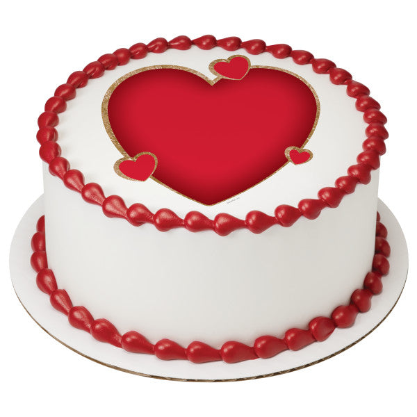 A Birthday Place - Cake Toppers - Red Hearts Edible Cake Topper Image