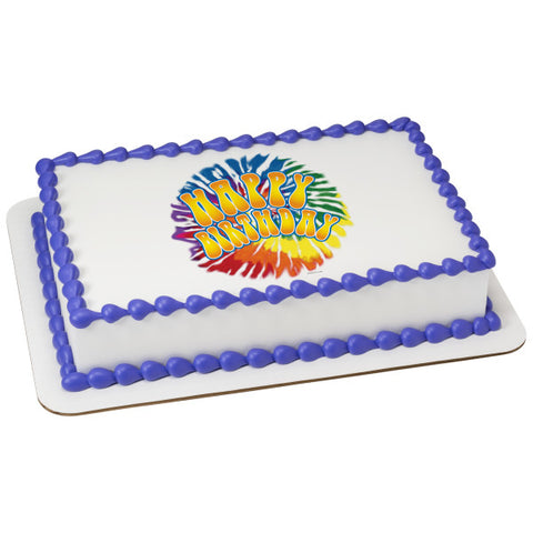 A Birthday Place - Cake Toppers - Tie Dye Birthday Edible Cake Topper Image