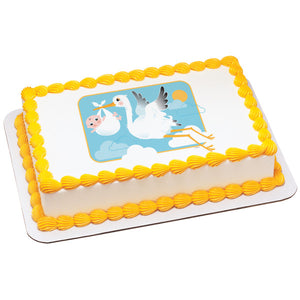 A Birthday Place - Cake Toppers - Stork and Baby Edible Cake Topper Image