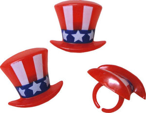 Uncle Sam Hat Rings - 12pc