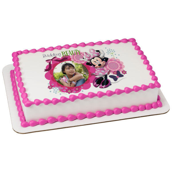 A Birthday Place Cake Toppers Minnie Mouse Budding Beauty Edible