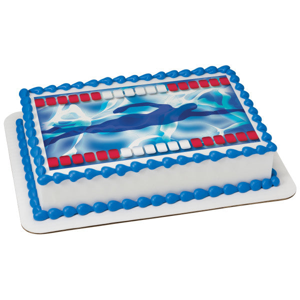 Swimming Edible Cake Topper Image
