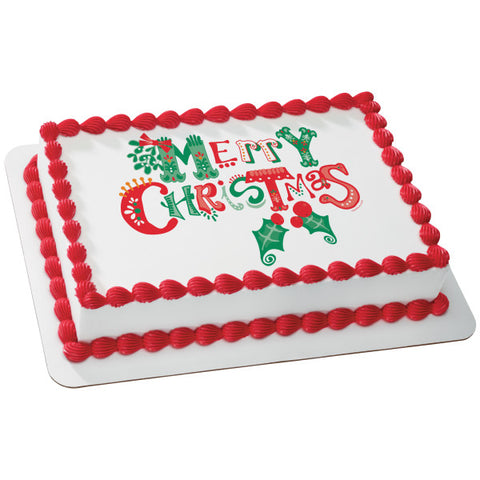 Merrymaking Merry Christmas Edible Cake Topper Image