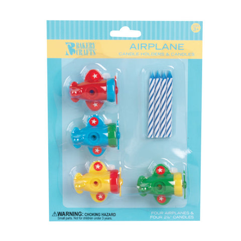 A Birthday Place - Cake Toppers - Bakery Crafts Airplane Candle Holders Candles