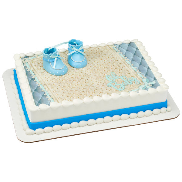 Blue Baby Booties Edible Cake Topper Image DecoSet® Background