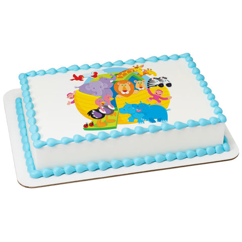A Birthday Place - Cake Toppers - Baby Shower Noah's Ark Edible Cake Topper Image