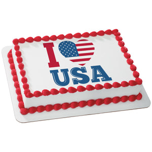 A Birthday Place - Cake Toppers - Celebrate America-I Love USA Edible Cake Topper Image
