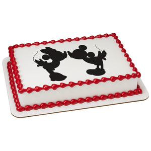A Birthday Place - Cake Toppers - Mickey & Minnie Silhouette Edible Cake Topper Image