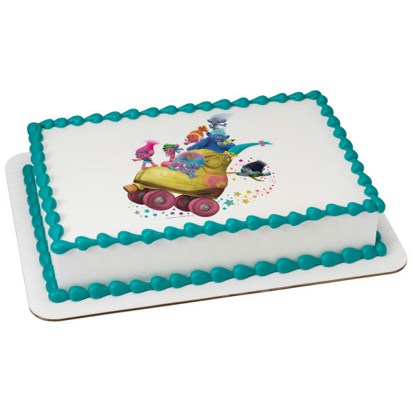 Trolls Poppy's Posse Edible Cake Topper Image