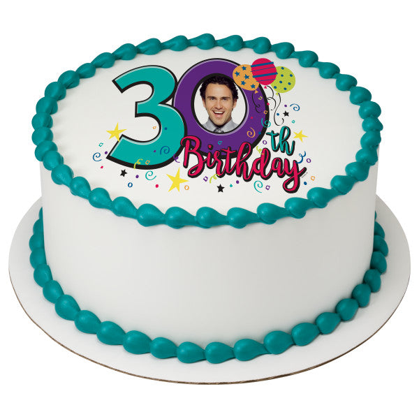 Happy 30th Birthday Edible Cake Topper Image Frame