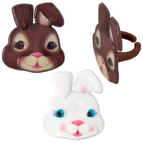 Cute Bunny Faces Cupcake Rings