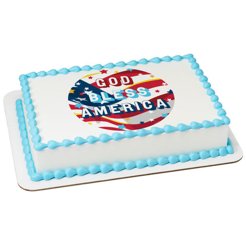 God Bless America Edible Cake Topper Image