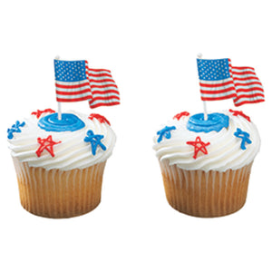 A Birthday Place - Cake Toppers - American Flag Paper DecoPics®