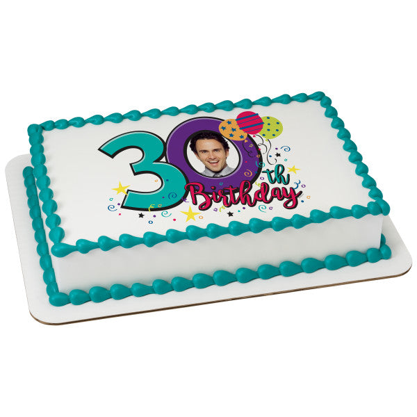 Happy 30th Birthday Edible Caker Topper Frame