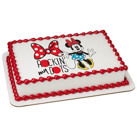 Mickey Mouse & Friends Minnie Rockin' My Dots Edible Cake Topper Image