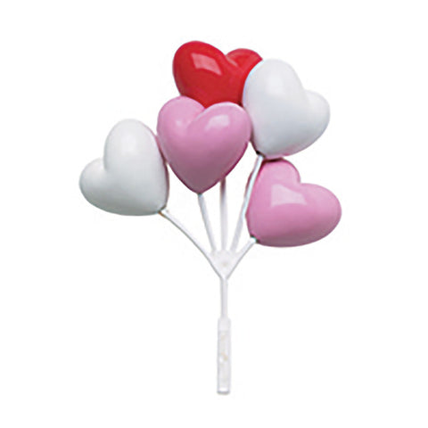 A Birthday Place - Cake Toppers - Red, White, Pink Heart Shaped Balloon Cluster DecoPics®