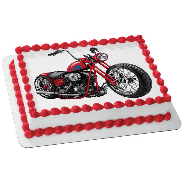 A Birthday Place - Cake Toppers - Motorcycle Edible Cake Topper Image