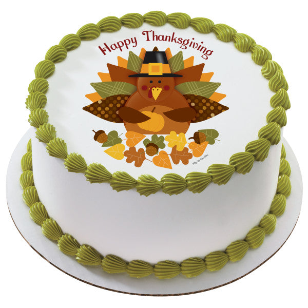 Awesome Happy Thanksgiving Turkey Edible Cake Topper Image A Birthday Place Personalised Birthday Cards Veneteletsinfo