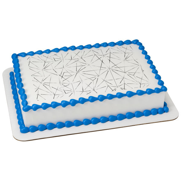 Silver Cracked Glass Edible Cake Topper Image