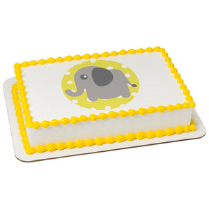 A Birthday Place - Cake Toppers - Baby Elephant-Polka Dot Edible Cake Topper Image